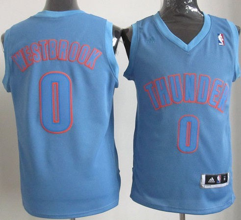 Maillot NBA Oklahoma City Thunder 2012 Noël NO.0 Westbrook Bleu