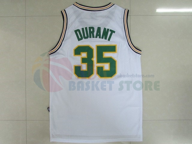 Maillot NBA Seattle Supersonics NO.35 Kevin Durant Retro Blanc
