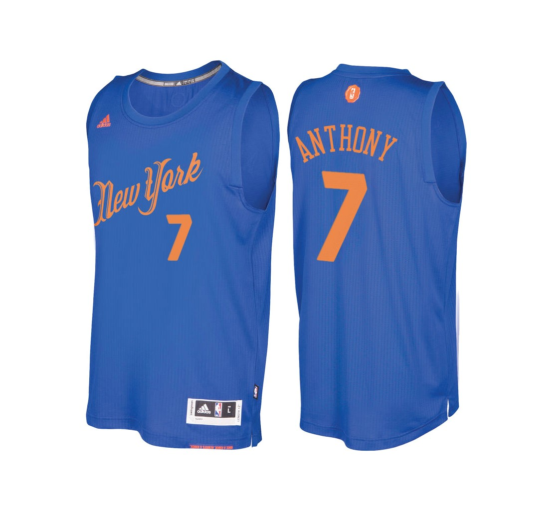Maillot NBA New York Knicks 2016 Noël NO.7 Carmelo Anthony Bleu
